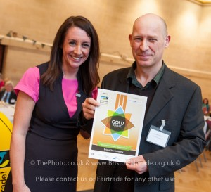James receiving a Business Fairtrade Award from The Guardian journalist Lucy Siegle.